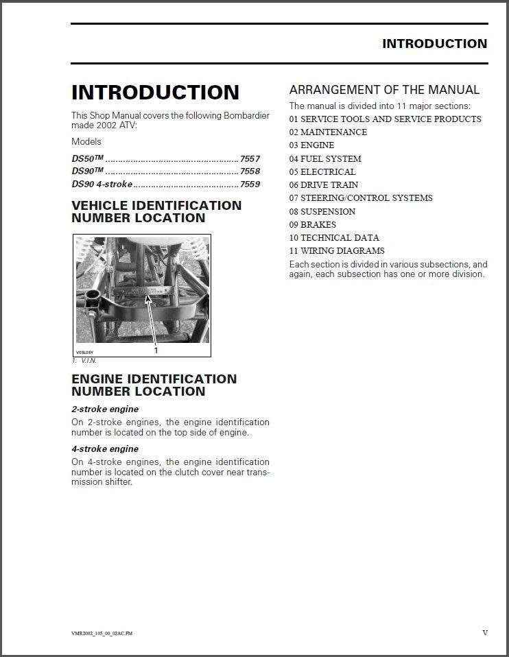 02-03 can-am ds50 ds90 atv service repair manual cd -- brp ds 50 90 for  sale - item #1445738