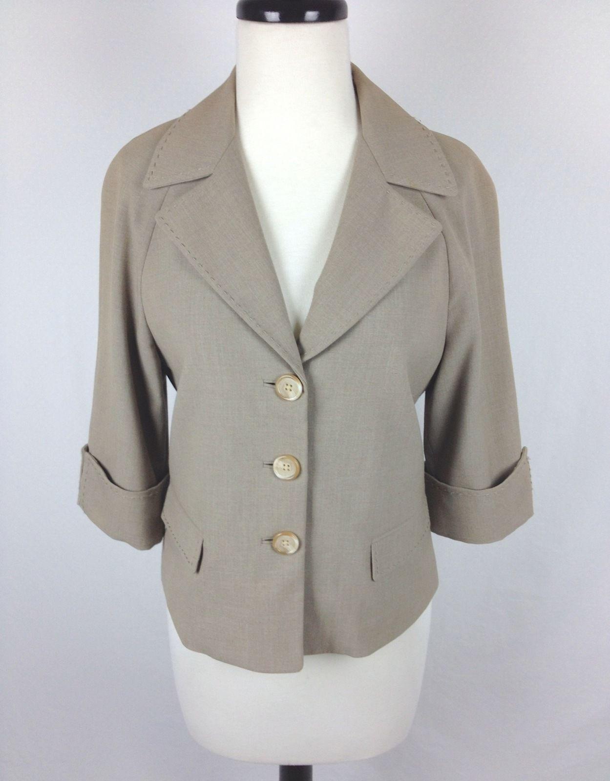 tahari jacket m womens beige cotton shrug for sale item. Black Bedroom Furniture Sets. Home Design Ideas