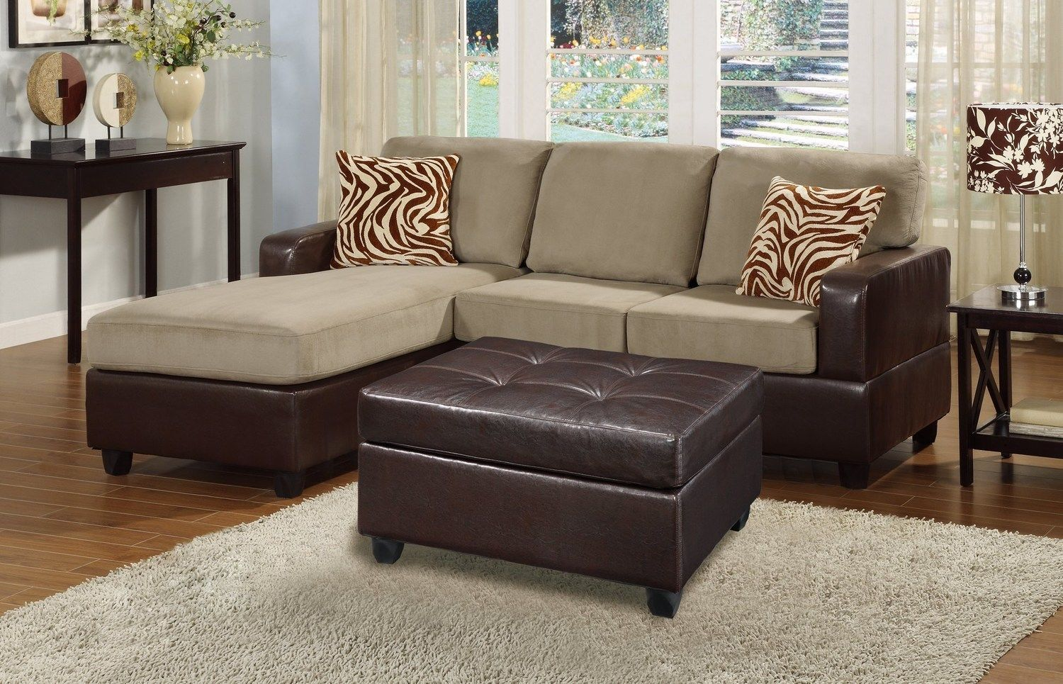 Bobkona Manhanttan Reversible Microfiber 3-Piece Sectional Sofa with Faux  Lea...