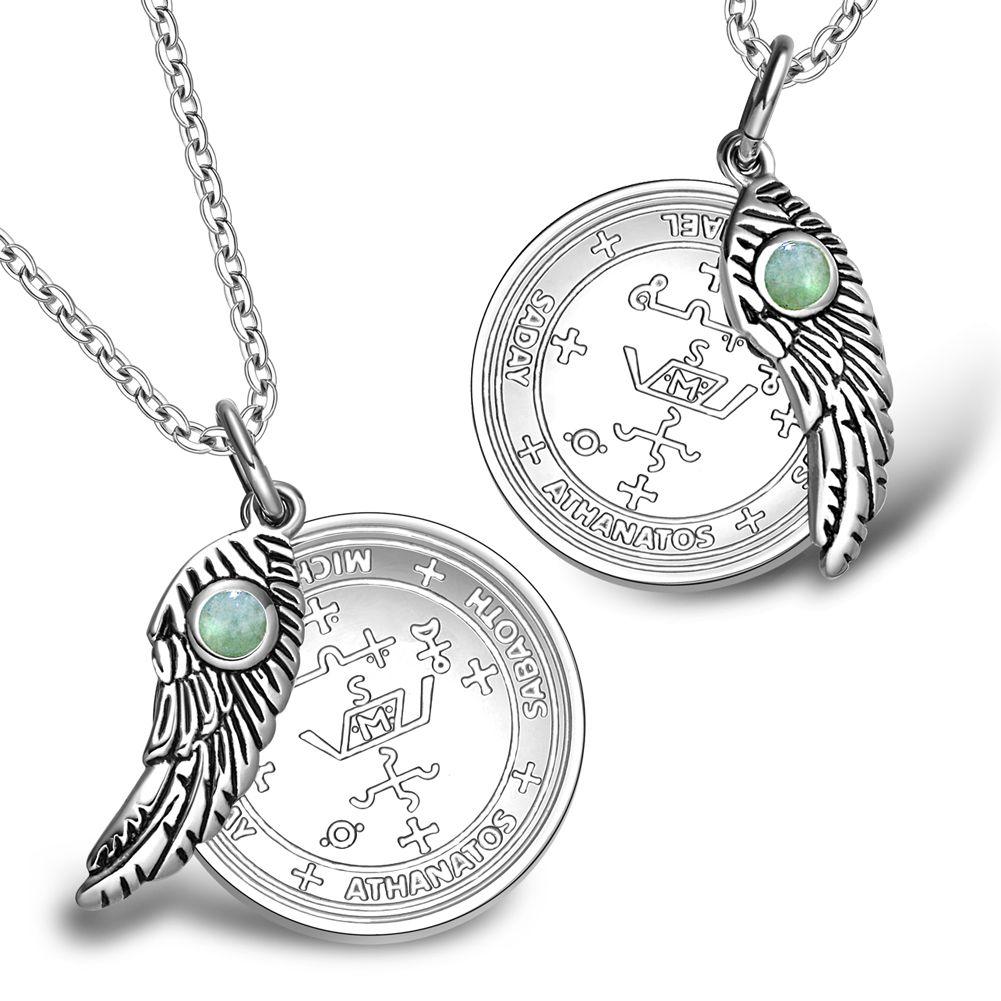 Love Couples Archangel Michael Sigils Amulets Set Angel Wings Green Quartz  Charm Neck