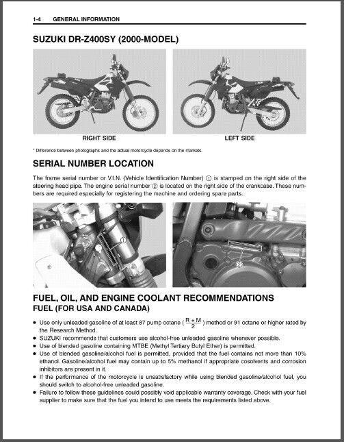 00-09 Suzuki DR-Z400S Service Repair Workshop Manual CD   - DRZ400S DR Z  400 S