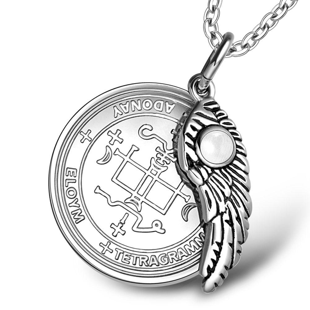 Archangel Gabriel Sigil Amulet Magic Powers Angel Wing Charm White  Simulated Cats Eye