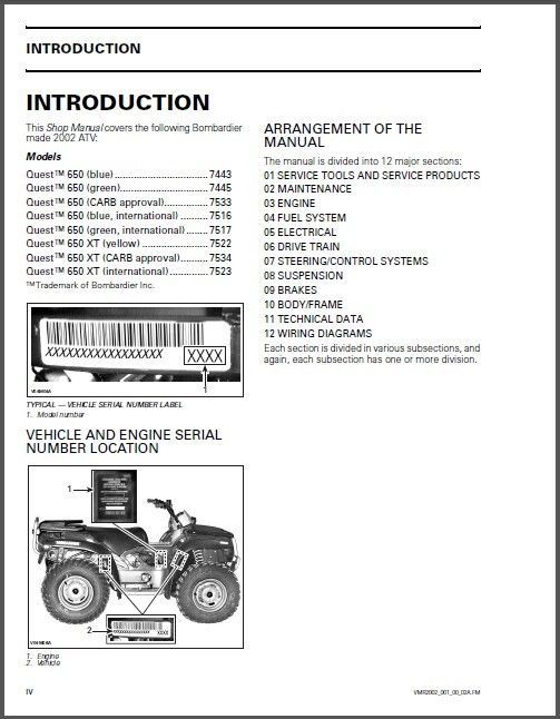 02 03 can am quest 650 500 xt traxter service repair manual cd brp rh unisquare com