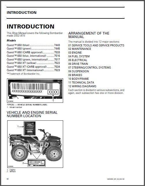 02 03 can am quest 650 500 xt traxter service repair manual cd brp rh unisquare com 2003 bombardier quest 650 owners manual 2002 bombardier quest 650 repair manual