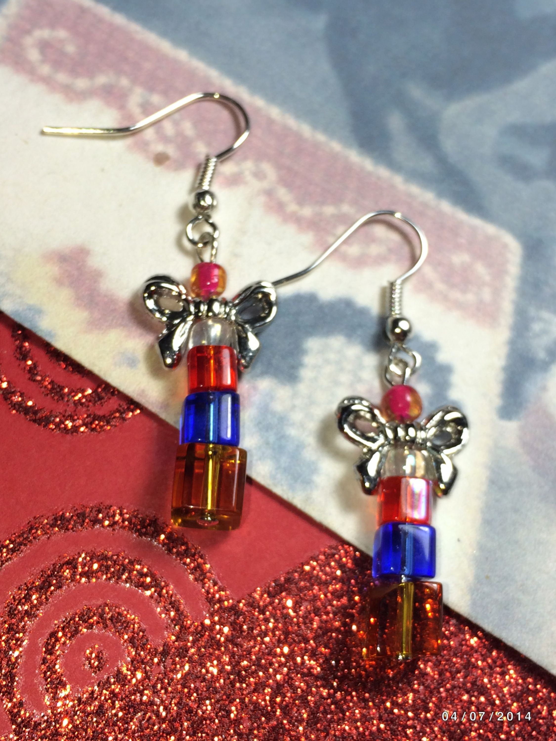 Christmas Stack Of Presents Hand Beaded Earrings For Sale ...