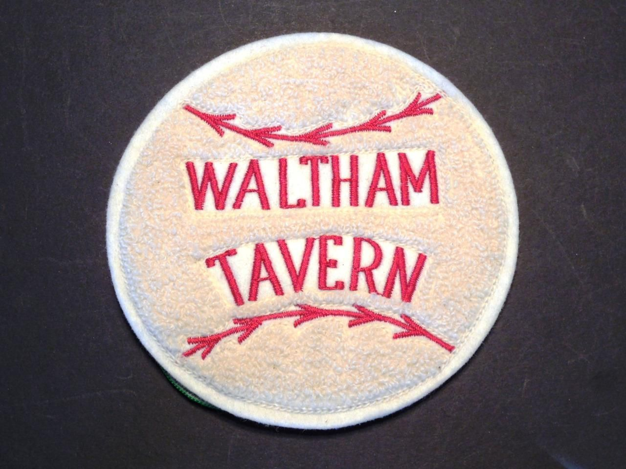 Rare waltham tavern sew on patch the last of boston 39 s dive for Dive bar shirt club promotion codes