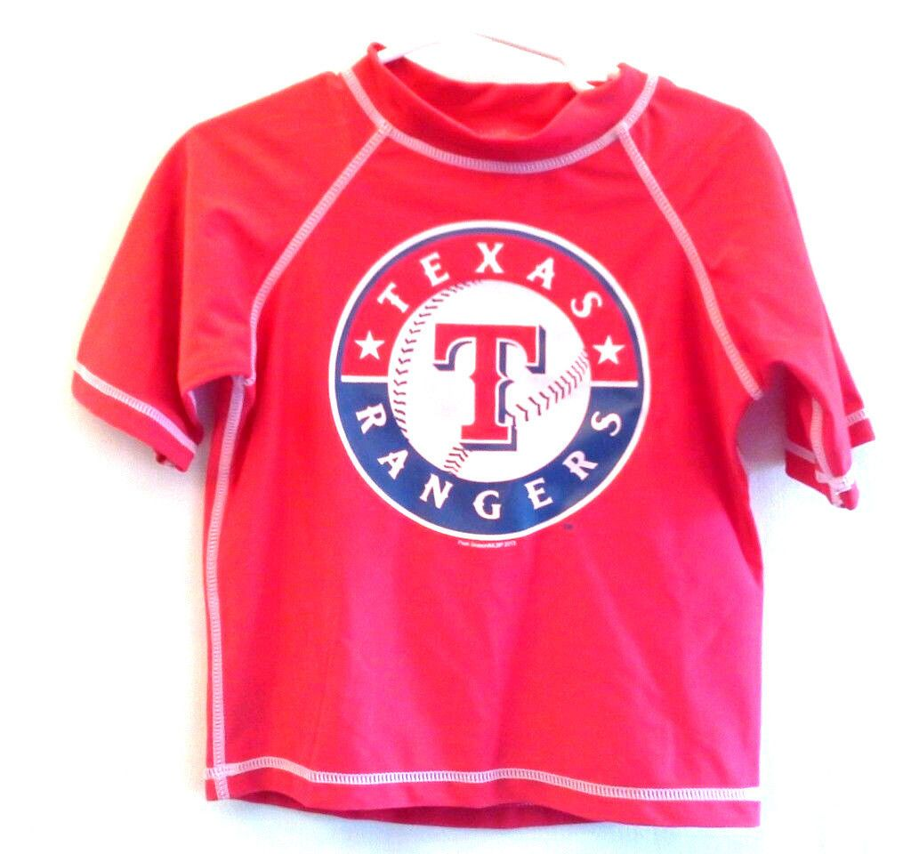 wholesale dealer cc1a3 3005d Texas Rangers Baseball 4 Red Swim Shirt NWT boys UV Protection
