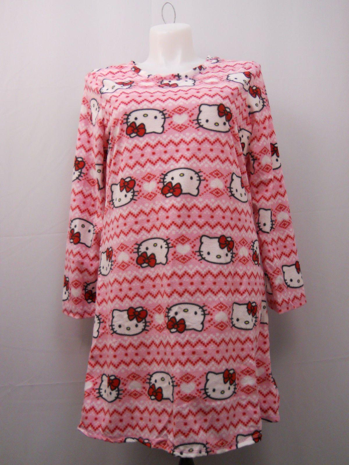 98706a83d SIZE 16-18 Womens Sleep Shirt HELLO KITTY Micro Fleece Long Sleeves  Pullover For Sale - Item #1645990
