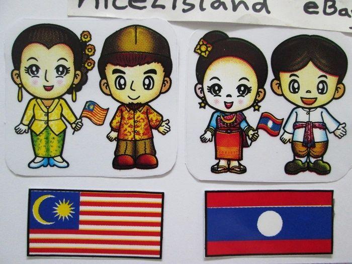 Asean Comic Cartoon 10 Country Flags Plastic Stickers Decals Waterproof for  Door