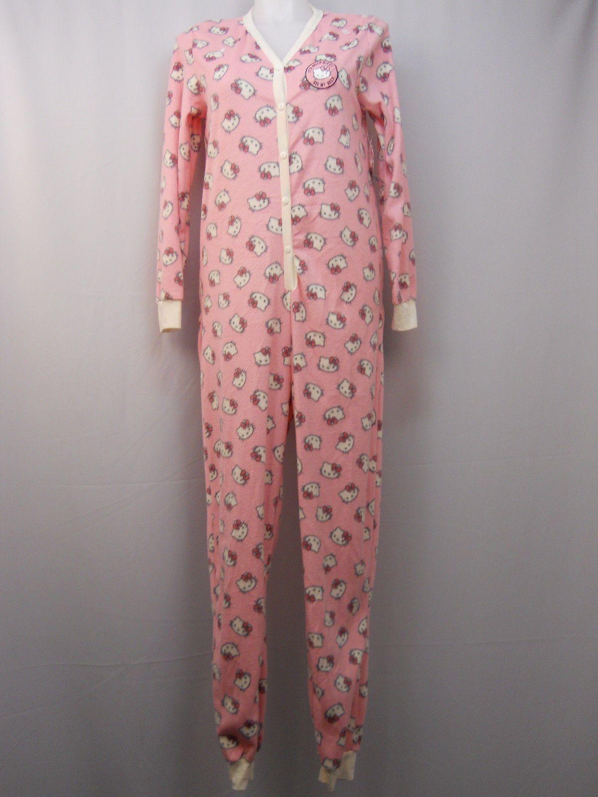 Hello Kitty Women S One Piece Drop Seat Pajamas Size L