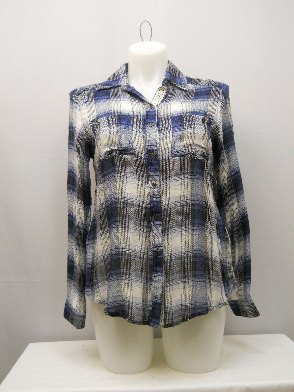 b0784c6e168 SIZE XL Womens Button Down Shirt SELF ESTEEM Plaid Lace Back Skirt Long  Sleeves
