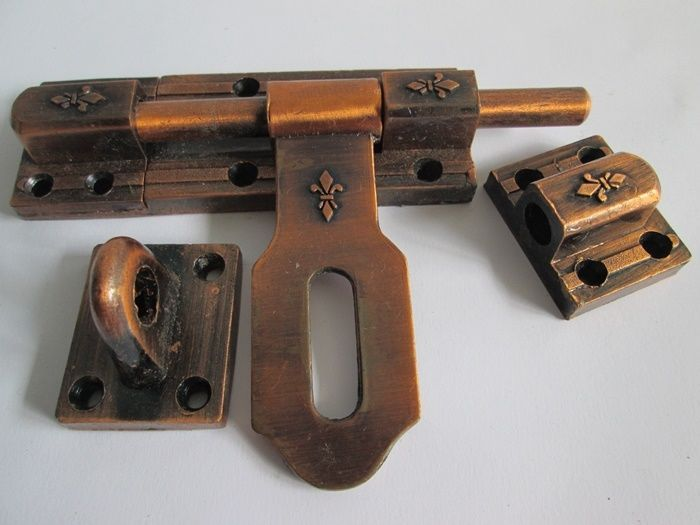 Vintage Slide Latch Bolt Door Hasp Cast Iron Rustic Long