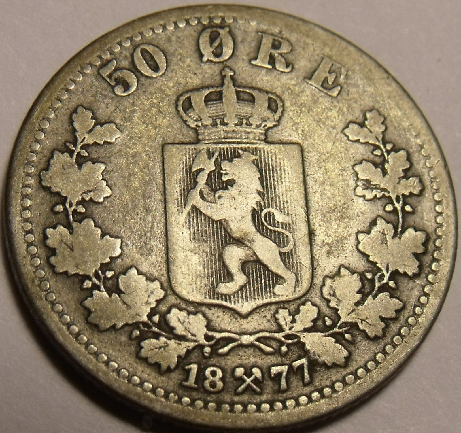 Rare Silver Norway 1877 50 Ore~1st Year Ever~Free Shipping