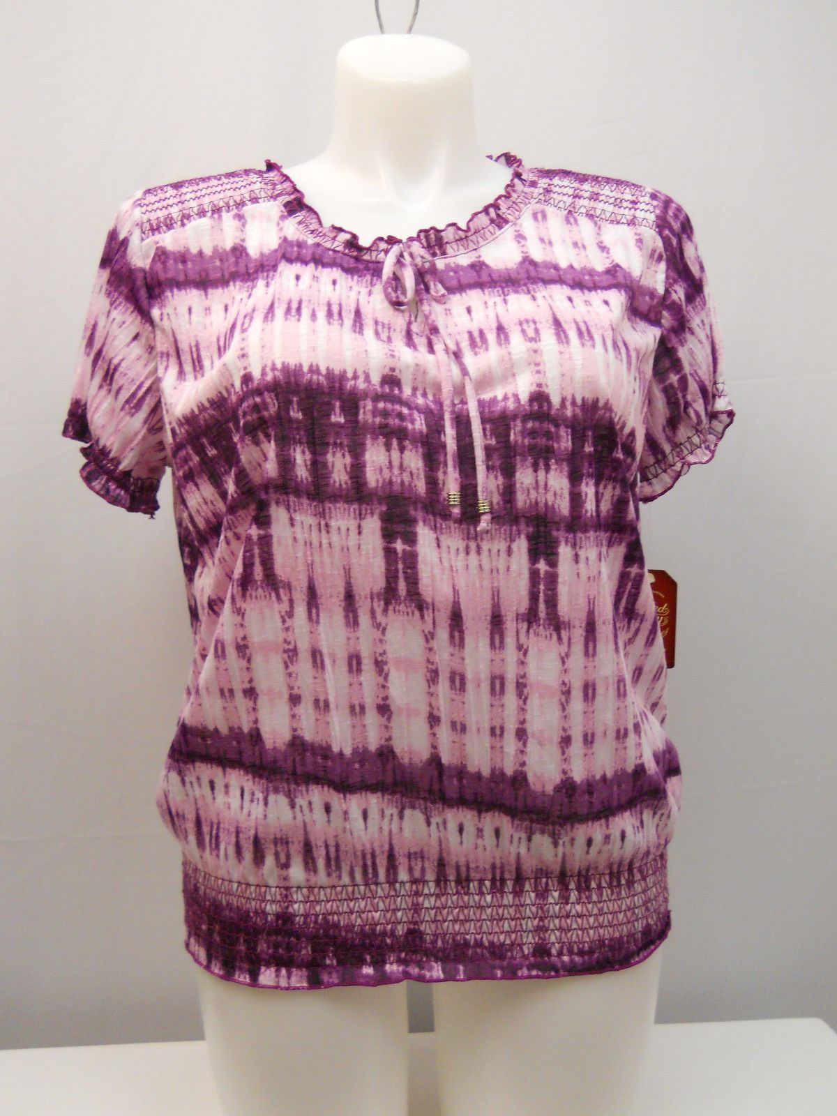Faded Glory Women S Peasant Top Size 20 Tie Dyed Smocked