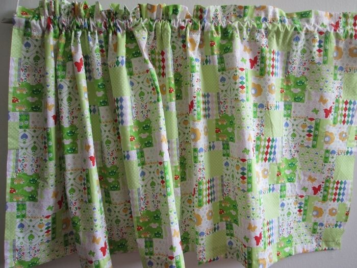patchwork kitchen fabric curtain valance choose colors green or blue 18 x44 inch for sale item. Black Bedroom Furniture Sets. Home Design Ideas