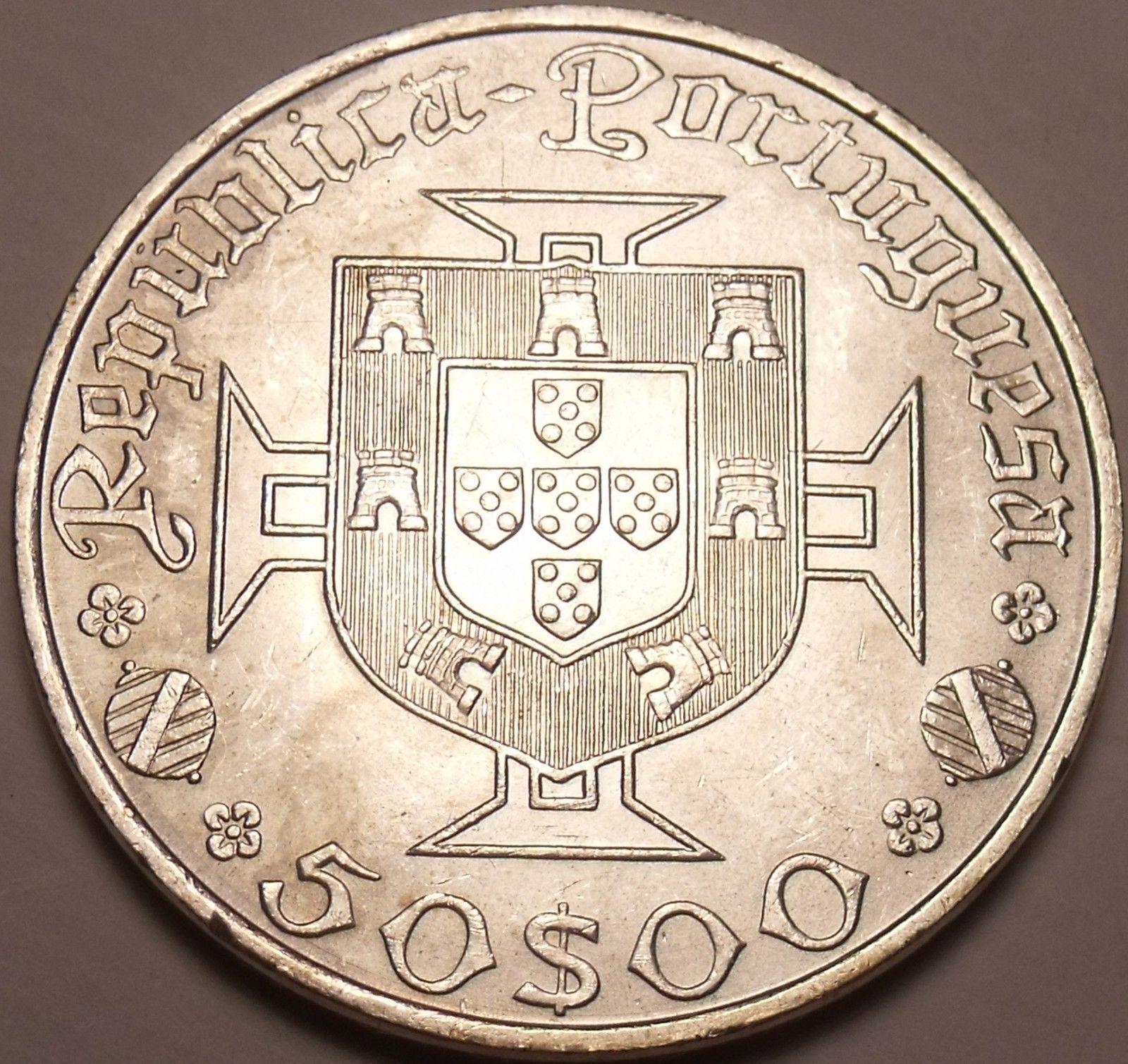Birth of Vasco DaGama~Fr//Sh Gem Unc Silver Portugal 1969 50 Escudos~500th Anniv