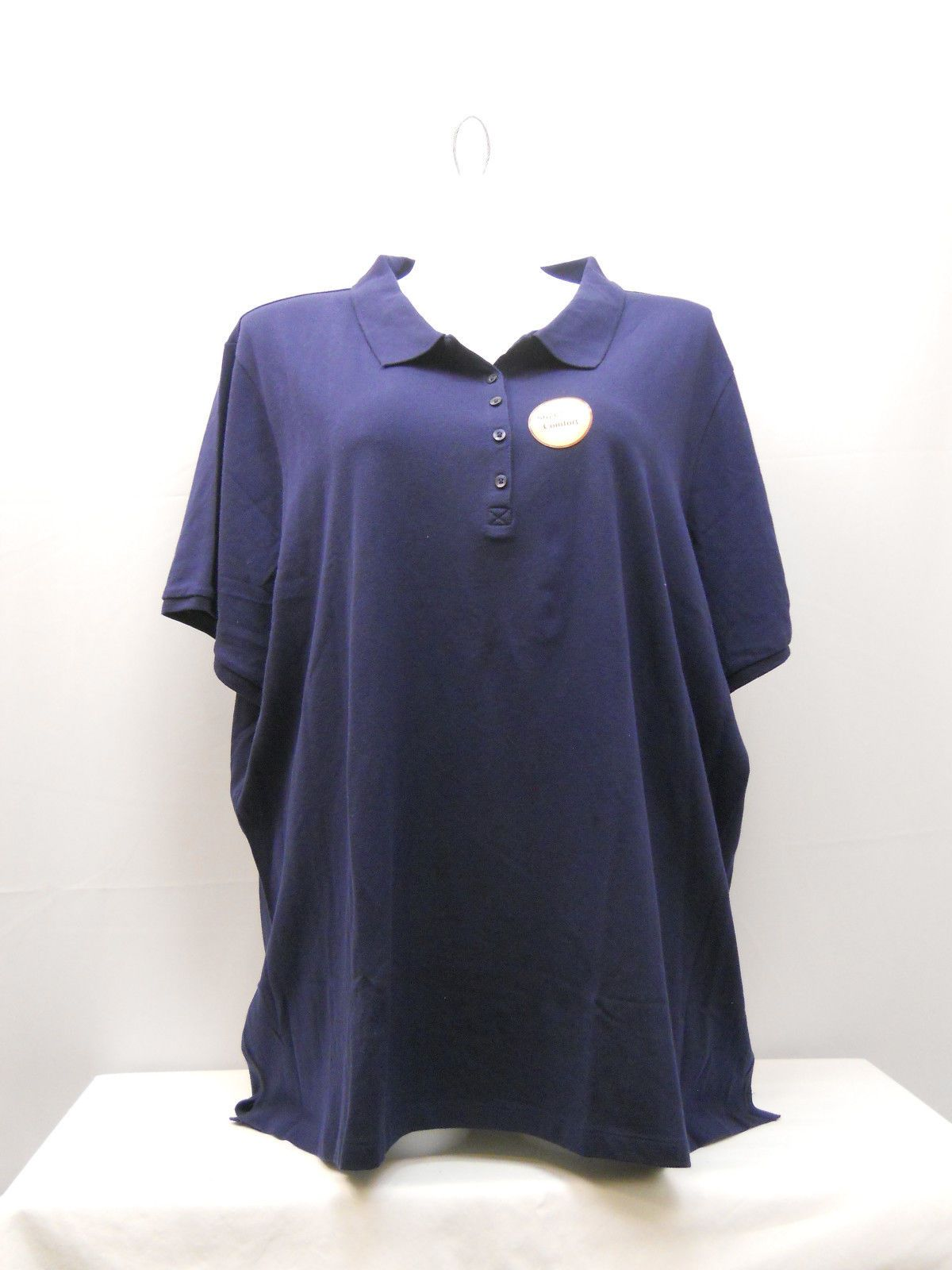 New Faded Glory Womens cotton spandex blue short sleeve polo tops several sizes