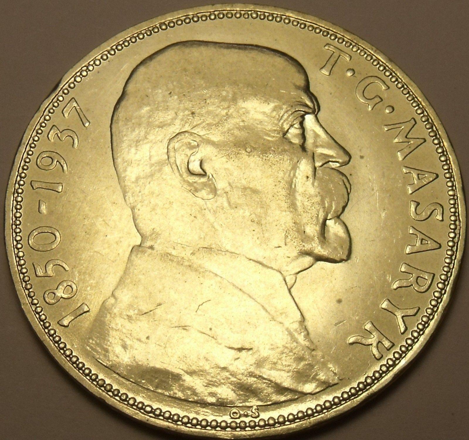 Unc Silver Czechoslovakia 1937 20 Kronun~Death Of President Masaryk~Free  Ship