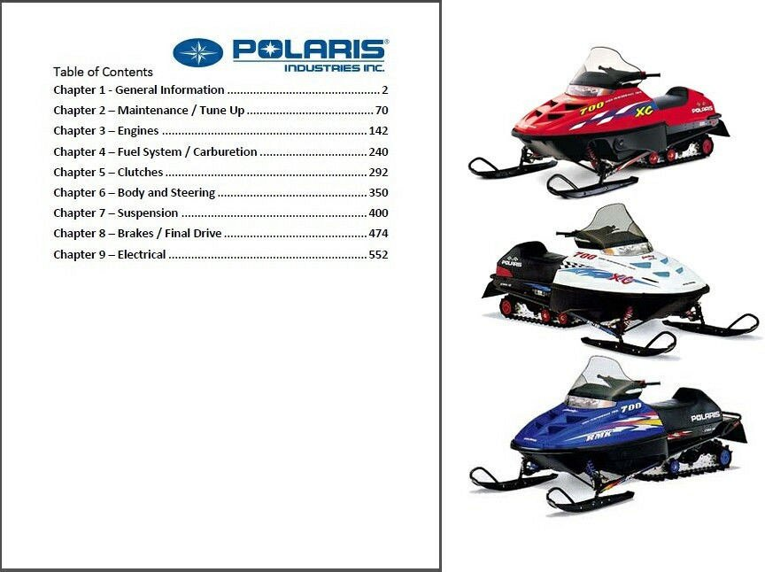 1999 polaris indy series snowmobiles service manual on a cd for sale rh unisquare com 1999 Polaris Trail Touring Cover 1999 Polaris Trail Touring Specs