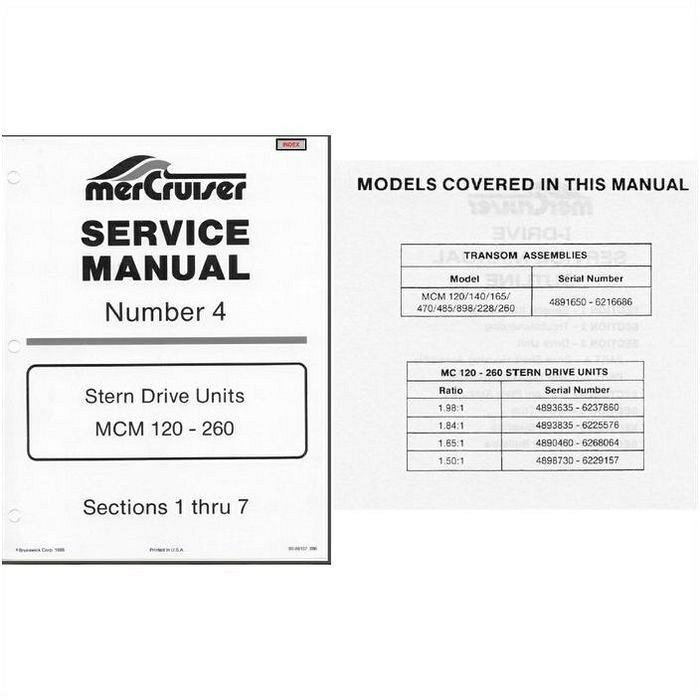 1978 1982 mercruiser 4 mcm 120 260 stern drive units service rh unisquare com Auto Repair Manual Manual Book