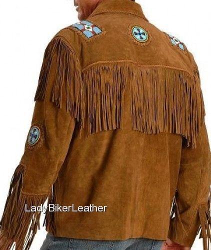 ff137ec7401e Mens EAGLE BEADED Brown OR Black SUEDE Leather WESTERN TRIBAL FRINGE Jacket  For Sale - Item  1705344
