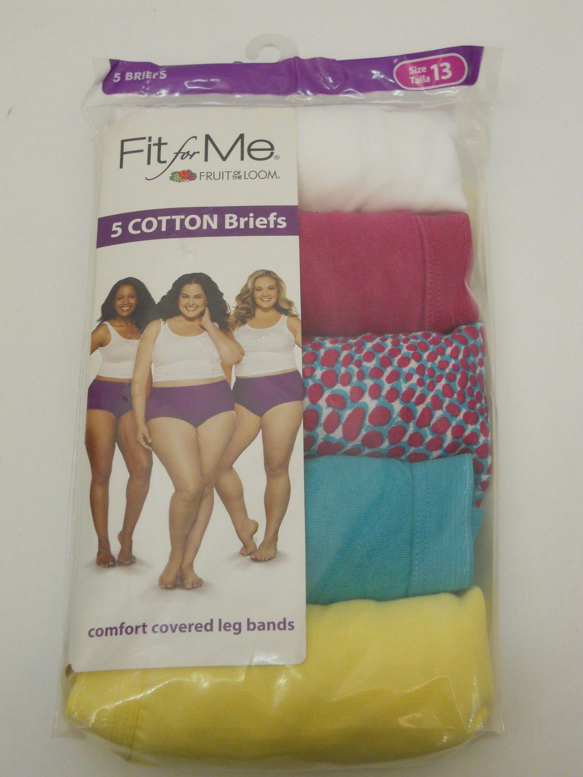 a84e50d5519a59 PLUS SIZE 13 Women 5 Pack Briefs Panties Fit For Me FRUIT OF THE LOOM Multi