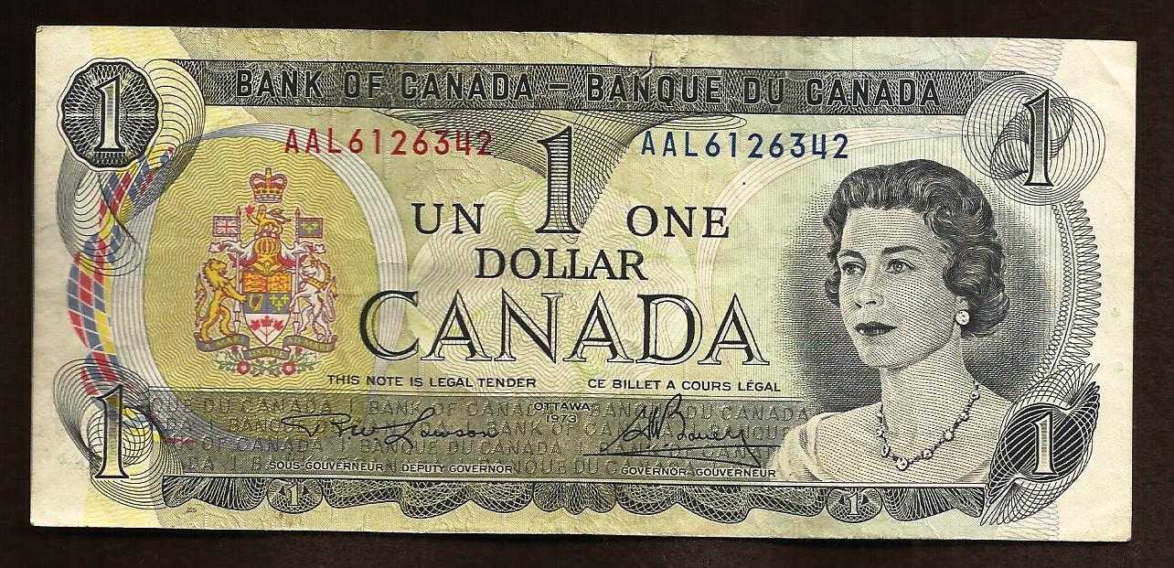 1973 Canada $1 Banknote SN AAL6126342 - Lawson/Bouey For Sale