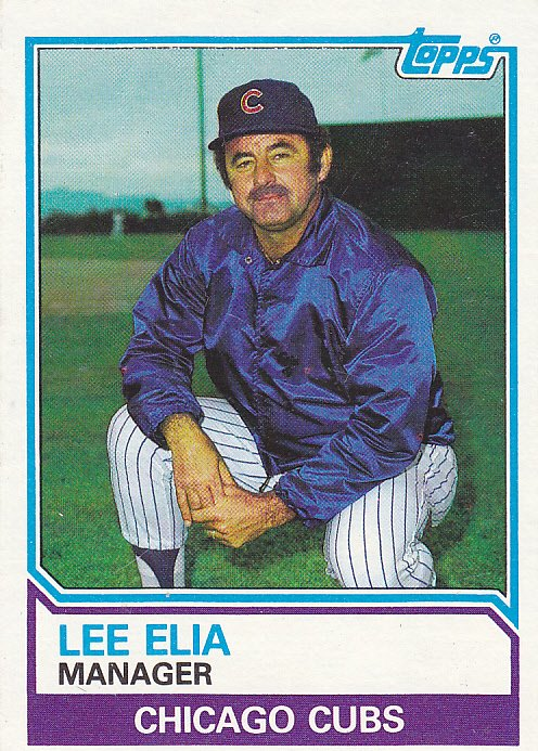 Lee Elia Cubs 1983 Topps Baseball Trading Card 456