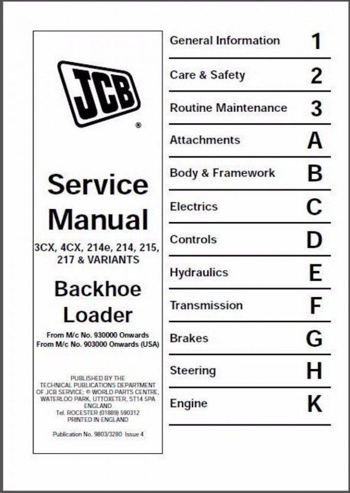 jcb 3cx 4cx 214e 214 215 217 backhoe loader service manual cd rh unisquare com JCB 214 Manual Electrics jcb 214 parts manual