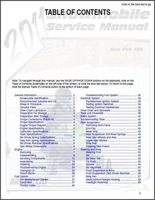 2010 2011 2013 arctic cat sno pro 120 snowmobile service repair rh unisquare com Arctic Cat Prowler 650 arctic cat 120 owner's manual