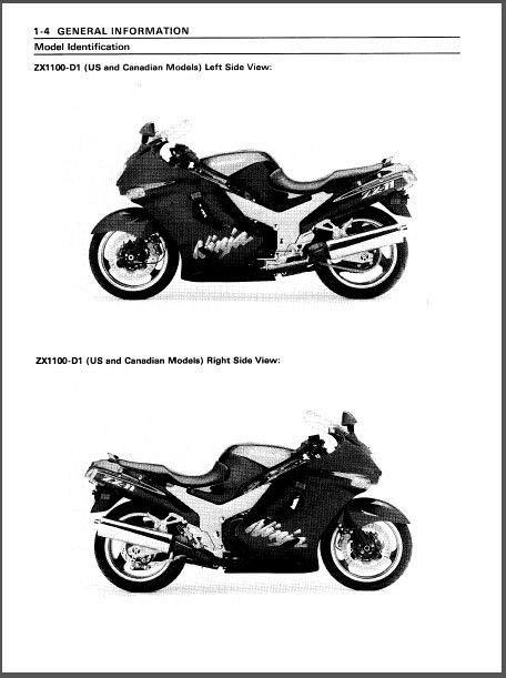 1993-2001 Kawasaki Ninja ZX-11 / ZZ-R1100 Service Manual on a CD For on
