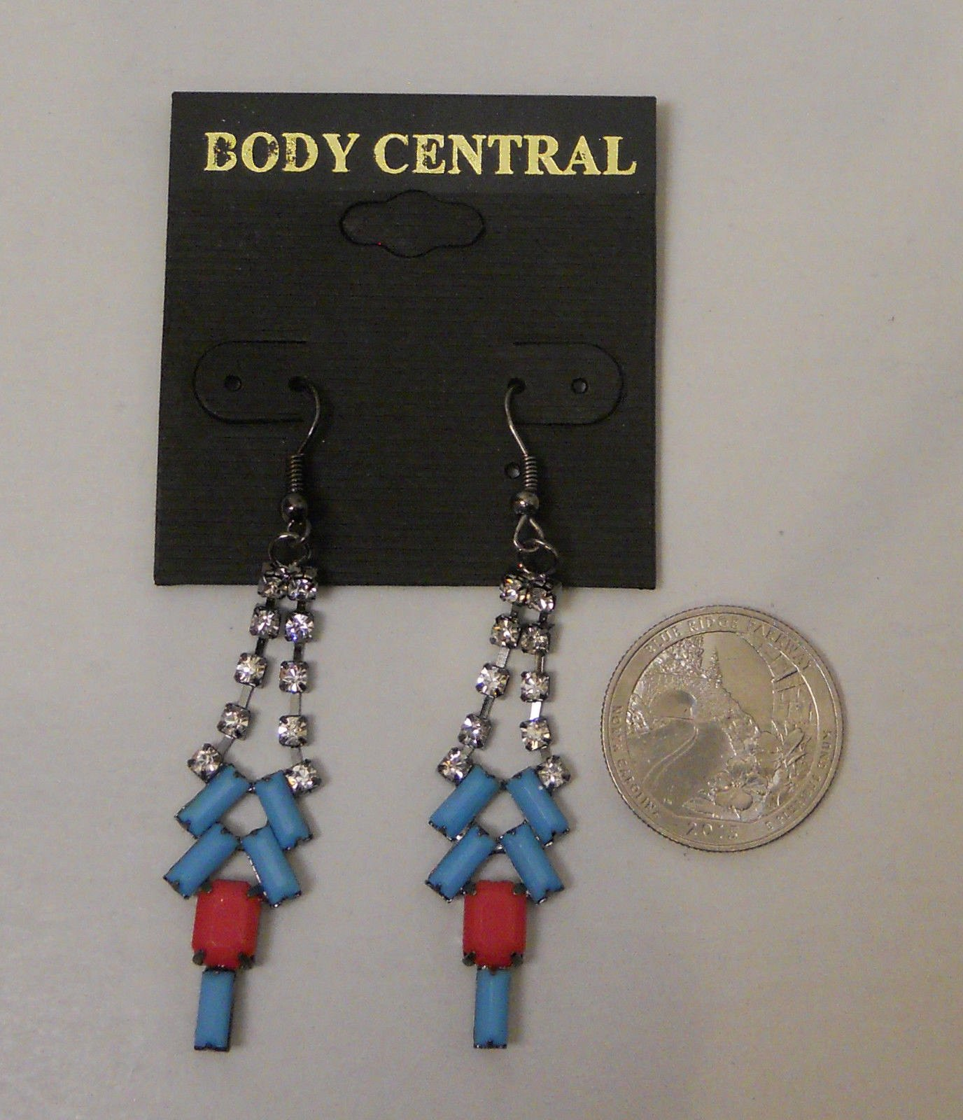 Body Central Sale >> Women Fashion Drop Dangle Earrings Blue Red Rhinestones Body Central Hook Fasten