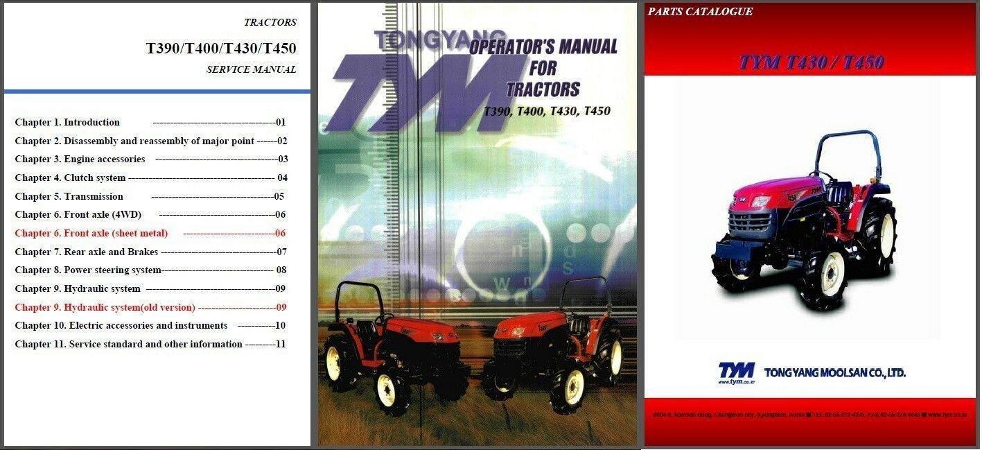 TYM T390 T400 T430 T450 Tractor Repair Service & Parts Manual CD - T 390 400