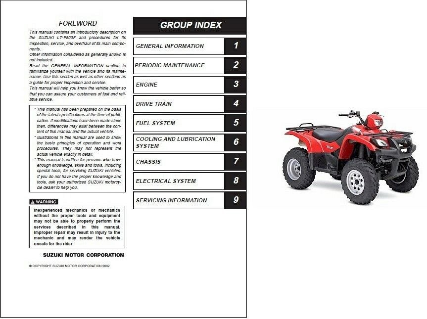 2002 2007 suzuki lt f500f vinson 500 4x4 service repair manual cd rh unisquare com 2002 Suzuki Vinson 500 Manual Suzuki Vinson 500 Diagram Plastic