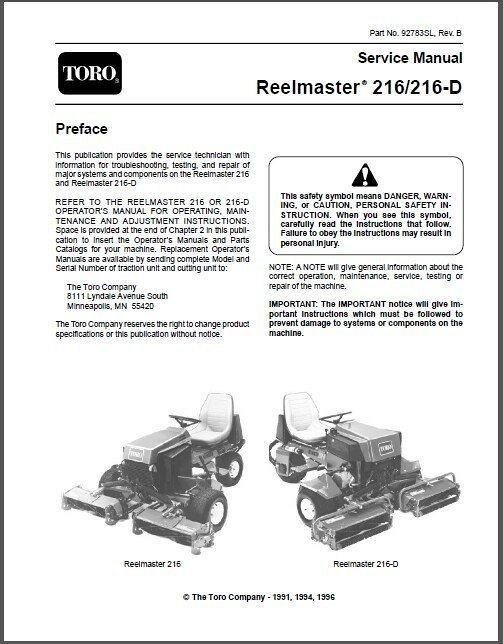 toro reelmaster 216 216 d riding mower service manual on a cd for rh unisquare com Toro 2300D Toro 216D