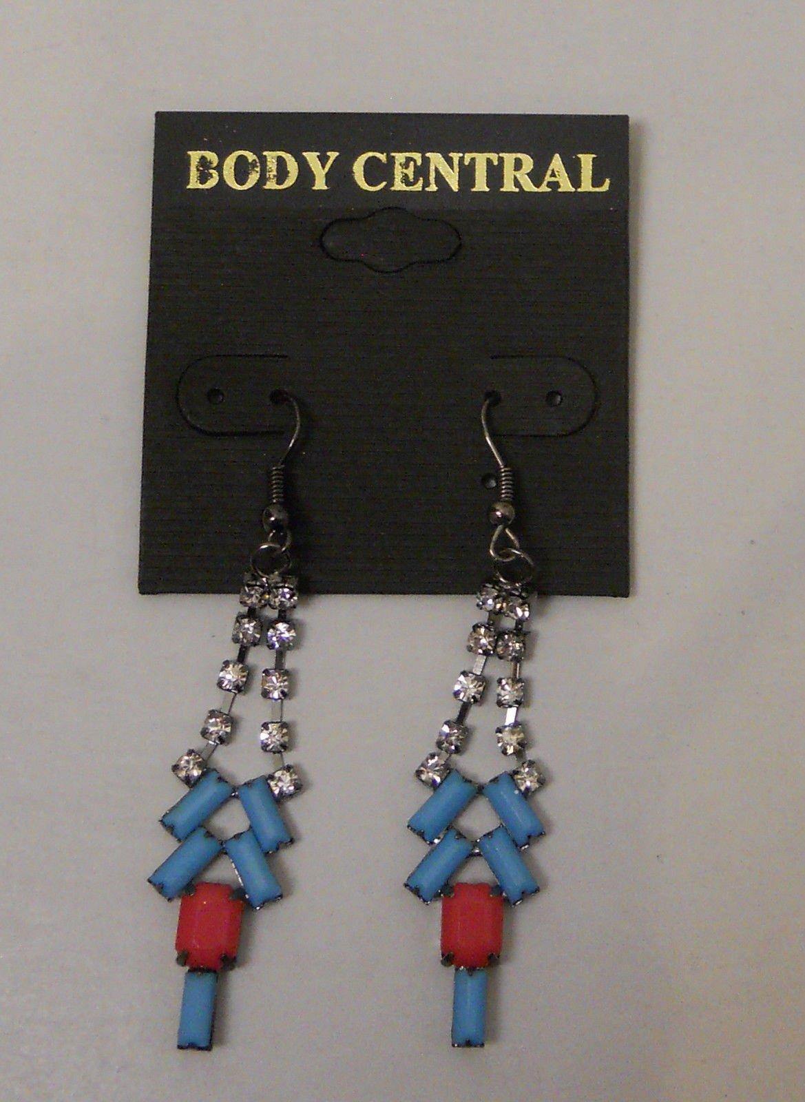 Body Central Sale >> Women Fashion Drop Dangle Earrings Blue Red Rhinestones Body Central Hook Fasten