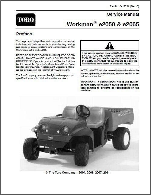 Toro Workman E2050  U0026 E2065 Utv Utility Vehicle Service