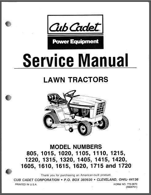 Cub Cadet 805 1015 1020 - 1720 Riding Lawn Tractors Service Repair Manual CD