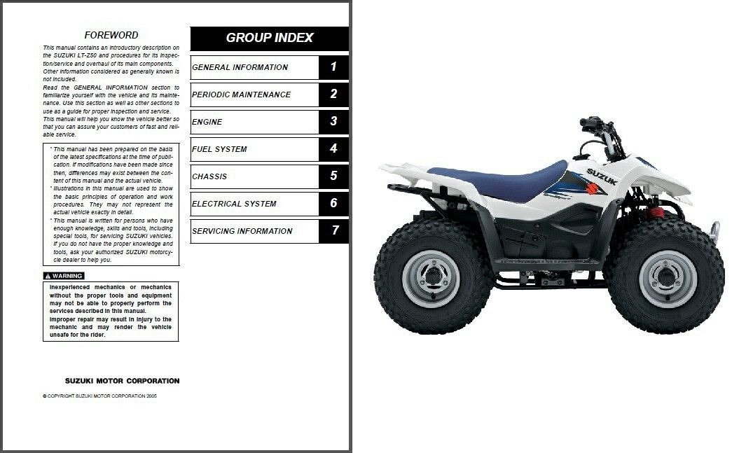 2006 2007 2008 2009 suzuki lt z50 quadsport 50 atv service manual on rh unisquare com Suzuki LTZ 50 Parts suzuki lt z50 repair manual