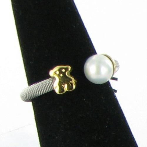 69b97bcbdd2ff Tous Icon 18K Yellow Gold Steel Mesh Ring w/ Pearl Bear Size 7 NWT