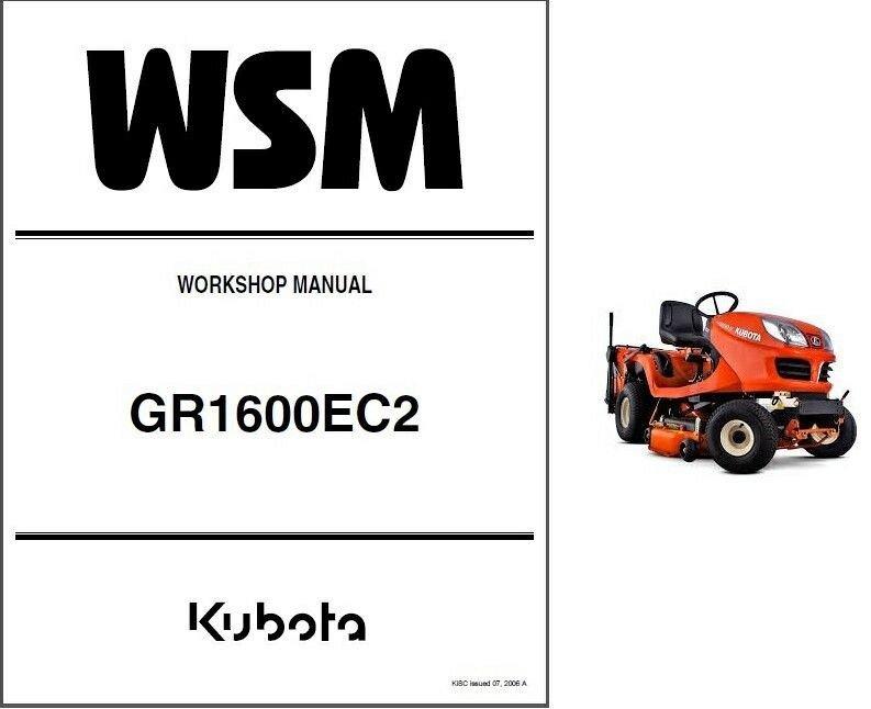 Kubota GR1600 (GR1600EC2) Diesel Mower Tractor WSM Service Manual CD - GR  1600