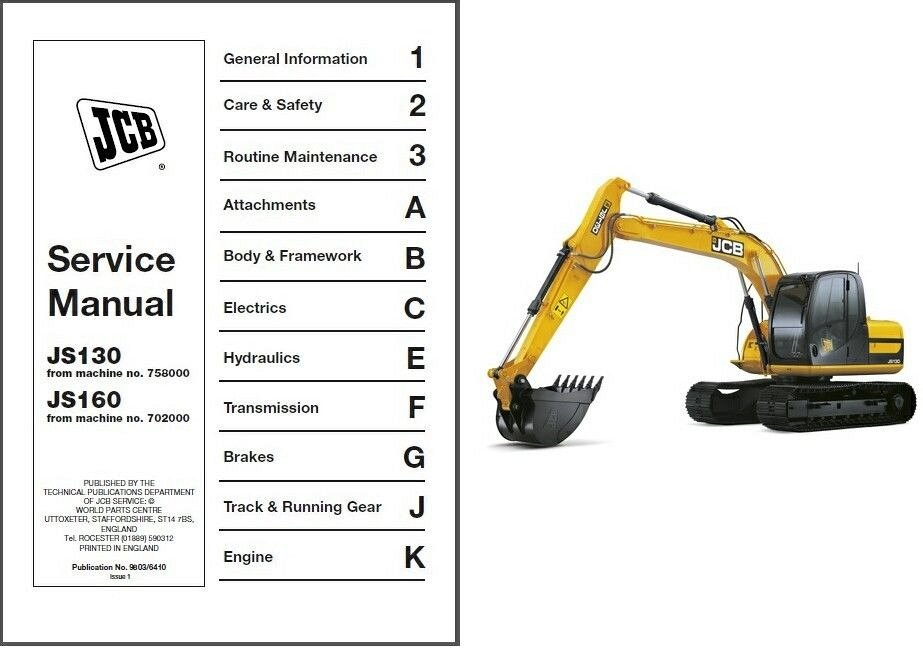 jcb js130 js160 excavator service workshop manual on a cd js 130 rh unisquare com jcb js130 parts list JCB Dieselmax