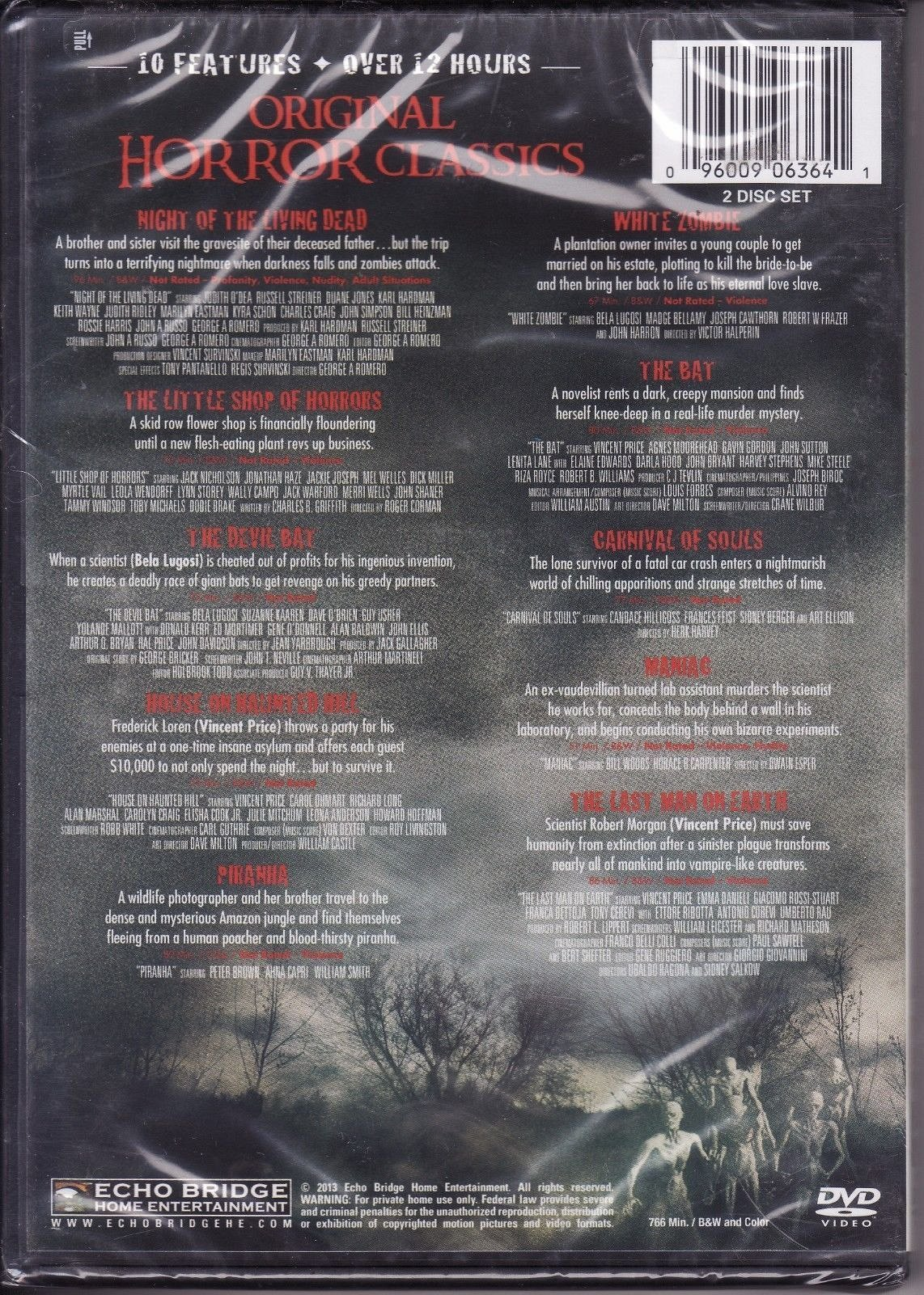 10movie DVD Night of Living Dead,Carnival of Souls PIRANA White  Zombie,MANIAC