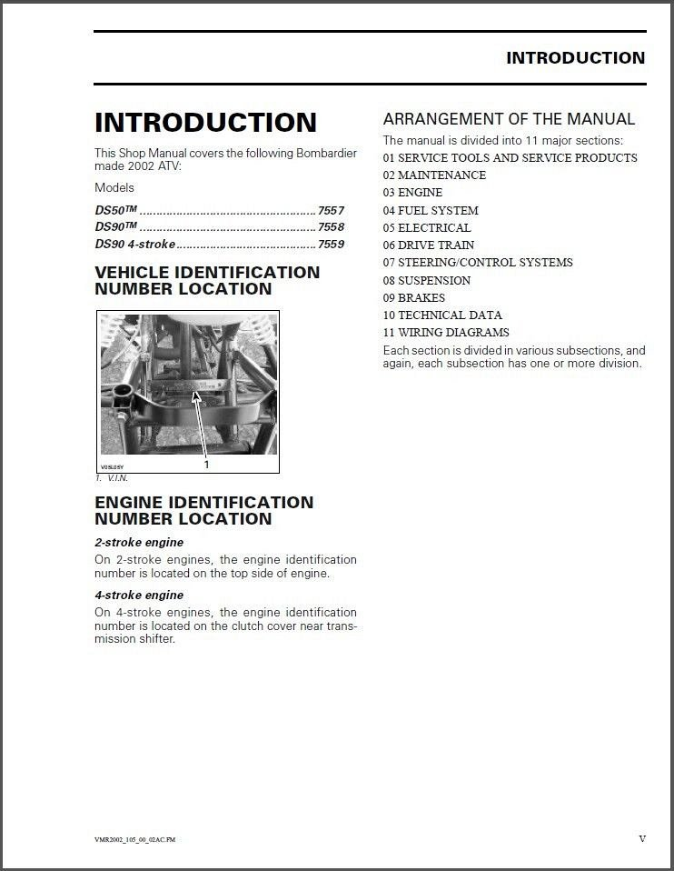 2002-2003 Can-Am DS50 DS90 ATV Service Manual on a CD - English and French