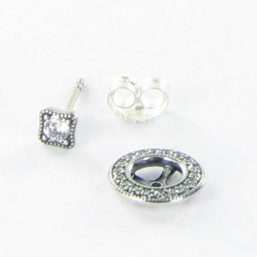 35aa30ea05707 Pandora Vintage Allure Clear CZ Stud Earrings 290721CZ Sterling Silver NWT  $60