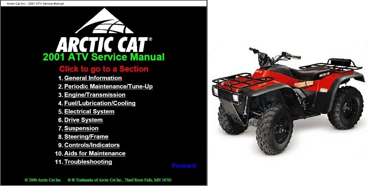 2001 arctic cat atv service repair workshop manual cd - 250 300 400 500  models for sale - item #1720243