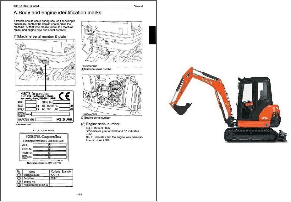 kubota kx61 3 kx71 3 mini excavator wsm service manual on a cd for rh unisquare com L245 Kubota Service Manuals kubota mini excavator service manual