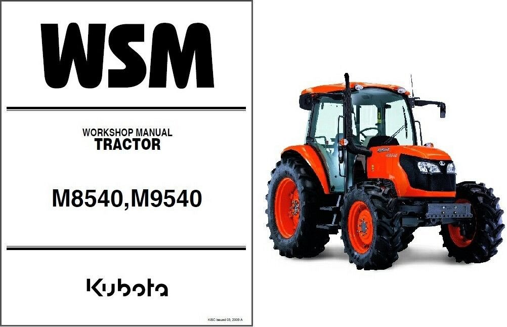 kubota m8540 m9540 tractor service manual on a cd for sale item rh unisquare com kubota m8540 narrow manual kubota m8540 operator's manual