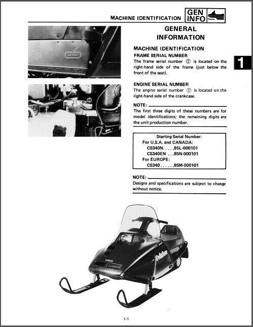 1989 1999 yamaha ovation 340 cs340 snowmobile service manual on rh unisquare com 1989 yamaha ovation owners manual yamaha ovation 340 service manual
