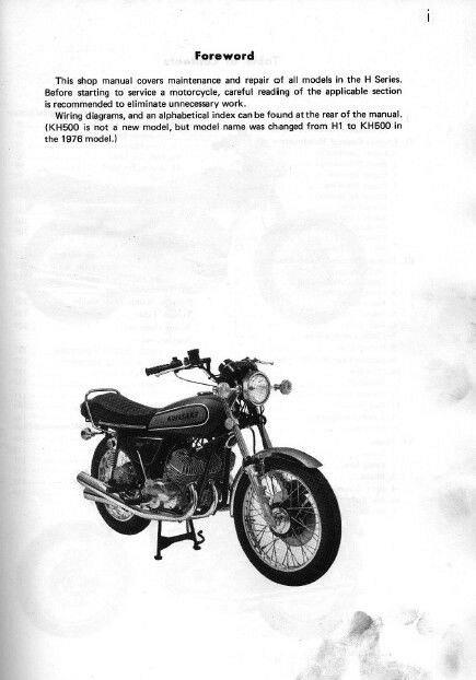 Service & Repair Manuals 1969-1977 Kawasaki H Series H1 KH500 H2 ...